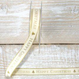 """Nastro """"Happy Christmas"""" Crema"""
