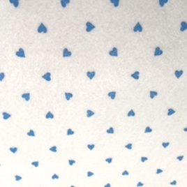 Feltro Stampato Bianco Fantasia Cuore Azzurro