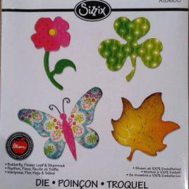 Fustella Farfalla, fiori e foglie